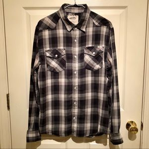 Vans grunge pearl snap button up plaid black Large